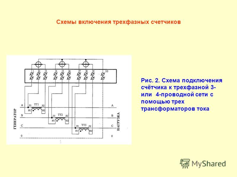 Схемы включения трехфазных счетчиков Рис. 2. Схема подключения счётчика к трехфазной 3- или 4-проводной сети с помощью трех трансформаторов тока