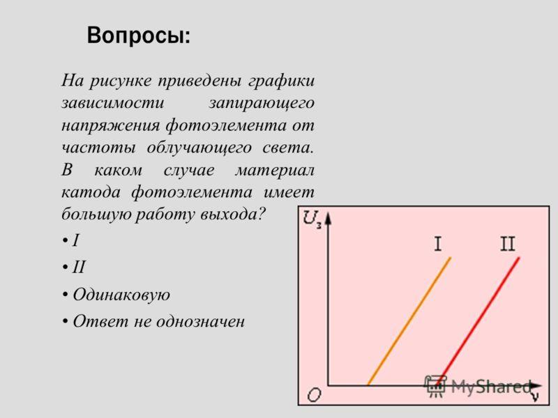 Вопросы: На рисунке приведены графики зависимости запирающего напряжения фотоэлемента от частоты облучающего света. В каком случае материал катода фотоэлемента имеет большую работу выхода? I I Одинаковую Ответ не однозначен