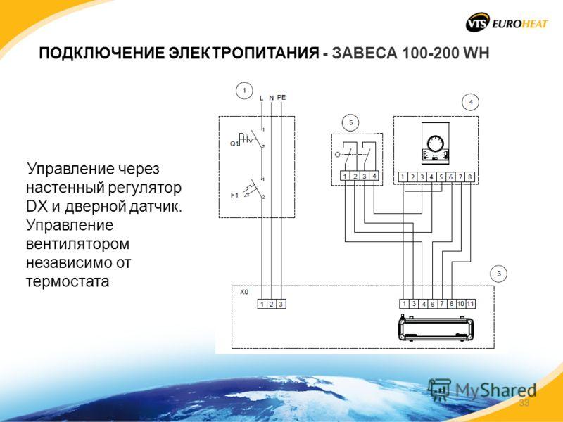 ПОДКЛЮЧЕНИЕ ЭЛЕКТРОПИТАНИЯ - ЗАВЕСА 100-200 WH Управление через настенный регулятор DX и дверной датчик. Управление вентилятором независимо от термостата 33