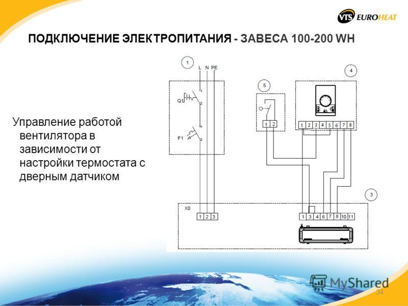 ПОДКЛЮЧЕНИЕ ЭЛЕКТРОПИТАНИЯ - ЗАВЕСА 100-200 WH Управление работой вентилятора в зависимости от настройки термостата с дверным датчиком 34