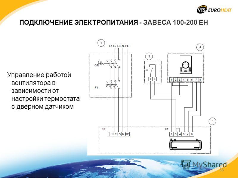 ПОДКЛЮЧЕНИЕ ЭЛЕКТРОПИТАНИЯ - ЗАВЕСА 100-200 EH Управление работой вентилятора в зависимости от настройки термостата с дверном датчиком 38