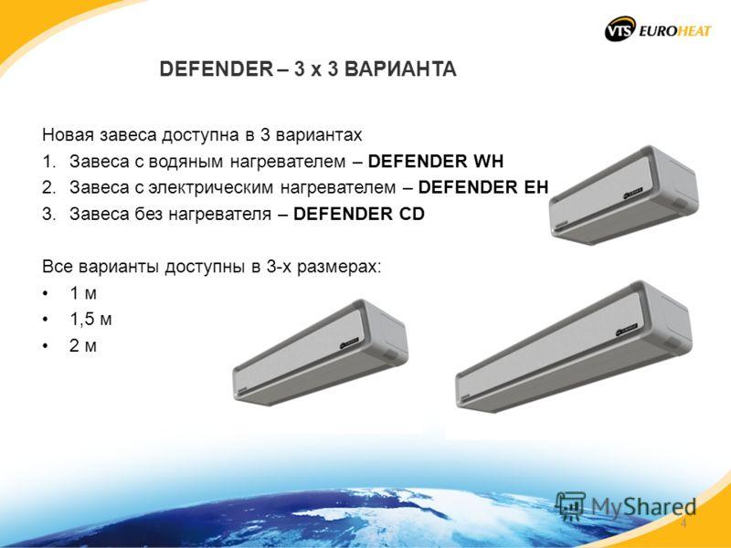DEFENDER – 3 x 3 ВАРИАНТА Новая завеса доступна в 3 вариантах 1.Завеса с водяным нагревателем – DEFENDER WH 2.Завеса с электрическим нагревателем – DEFENDER EH 3.Завеса без нагревателя – DEFENDER CD Все варианты доступны в 3-х размерах: 1 м 1,5 м 2 м