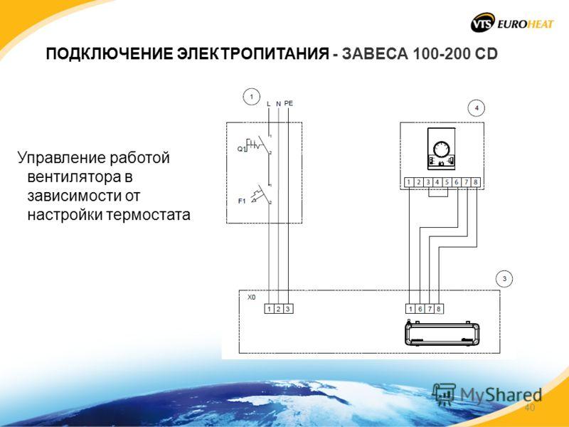 ПОДКЛЮЧЕНИЕ ЭЛЕКТРОПИТАНИЯ - ЗАВЕСА 100-200 CD Управление работой вентилятора в зависимости от настройки термостата 40
