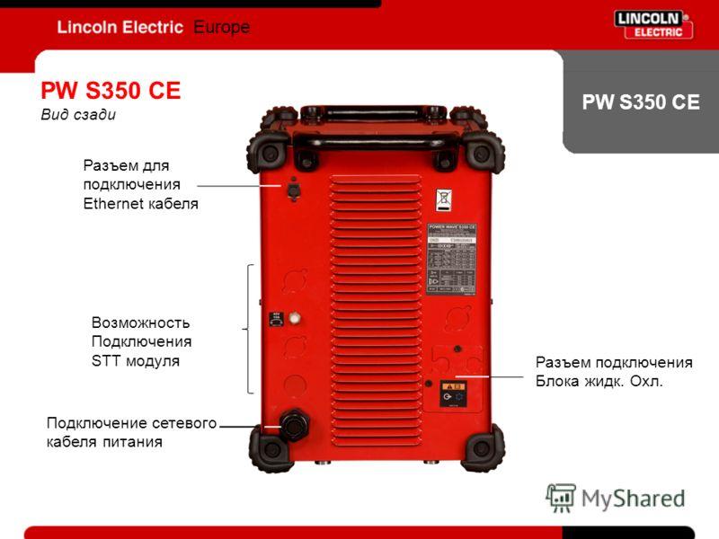 PW S350 CE Europe PW S350 CE Вид сзади Разъем для подключения Ethernet кабеля Подключение сетевого кабеля питания Разъем подключения Блока жидк. Охл. Возможность Подключения STT модуля