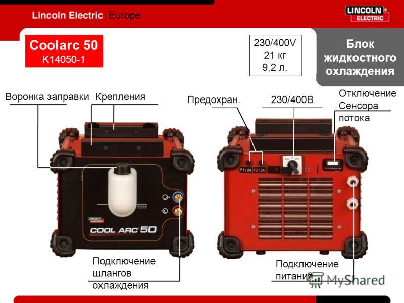 Блок жидкостного охлаждения Europe Coolarc 50 K14050-1 230/400В Отключение Сенсора потока Предохран. Воронка заправкиКрепления Подключение шлангов охлаждения Подключение питания 230/400V 21 кг 9,2 л.