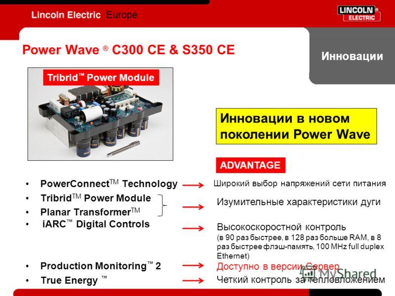 Инновации Europe PowerConnect TM Technology Tribrid TM Power Module Planar Transformer TM iARC Digital Controls Production Monitoring 2 True Energy Power Wave ® C300 CE & S350 CE Tribrid Power Module Высокоскоростной контроль (в 90 раз быстрее, в 128