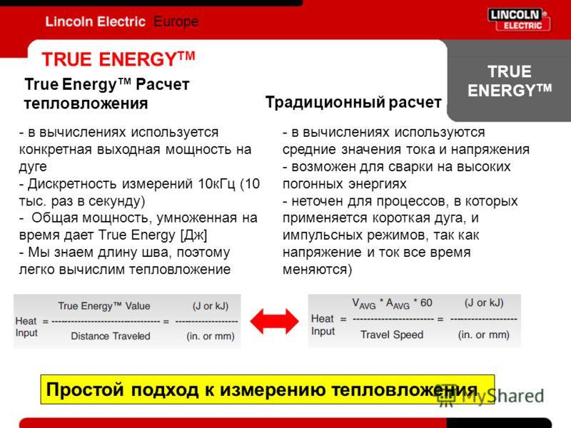 TRUE ENERGY TM Europe TRUE ENERGY TM Традиционный расчет True Energy Расчет тепловложения - в вычислениях используется конкретная выходная мощность на дуге - Дискретность измерений 10кГц (10 тыс. раз в секунду) - Общая мощность, умноженная на время д