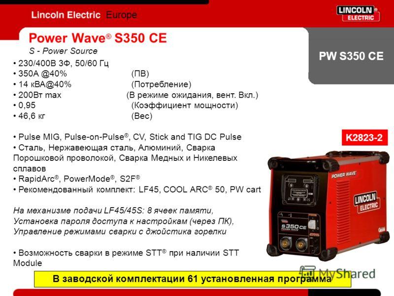 PW S350 CE Europe Power Wave ® S350 CE S - Power Source 230/400В 3Ф, 50/60 Гц 350A @40%(ПВ) 14 кВА@40%(Потребление) 200Вт max (В режиме ожидания, вент. Вкл.) 0,95(Коэффициент мощности) 46,6 кг(Вес) Pulse MIG, Pulse-on-Pulse ®, CV, Stick and TIG DC Pu