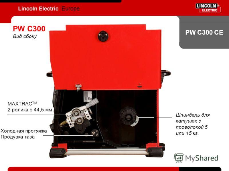 PW C300 CE Europe PW C300 Вид сбоку MAXTRAC TM 2 ролика 44,5 мм Шпиндель для катушек с проволокой 5 или 15 кг. Холодная протяжка Продувка газа