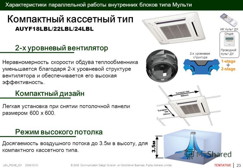 © 2008 Communication Design Division, Air Conditioner Business. Fujitsu General Limited. TENTATIVE LEA_P024E_001 2008/10/10 Характеристики параллельной работы внутренних блоков типа Мульти AUYF18LBL/22LBL/24LBL 3.5м Компактный кассетный тип 2-х уровн