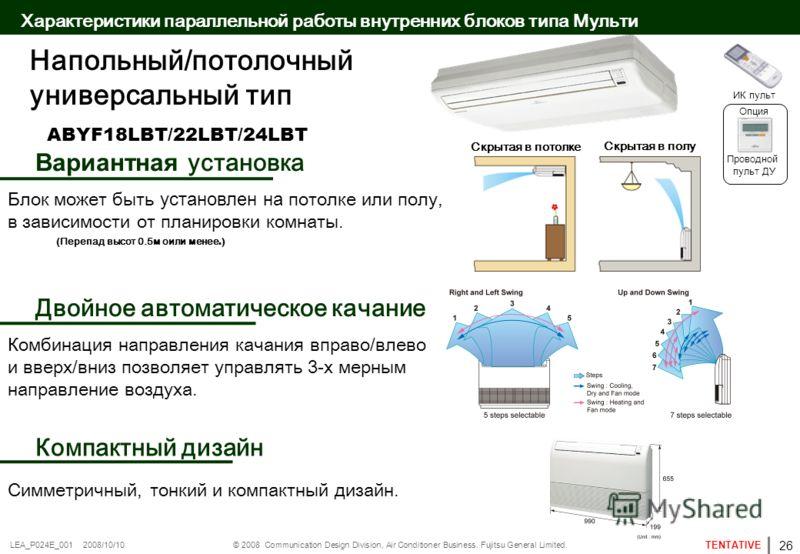 © 2008 Communication Design Division, Air Conditioner Business. Fujitsu General Limited. TENTATIVE LEA_P024E_001 2008/10/10 ABYF18LBT/22LBT/24LBT Напольный/потолочный универсальный тип ( Перепад высот 0.5м oили менее.) Блок может быть установлен на п