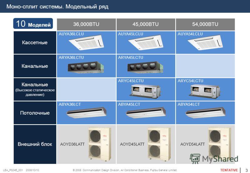 © 2008 Communication Design Division, Air Conditioner Business. Fujitsu General Limited. TENTATIVE LEA_P024E_001 2008/10/10 Моно-сплит системы. Модельный ряд Кассетные Канальные (Высокое статическое давление) Потолочные Внешний блок 36,000BTU45,000BT