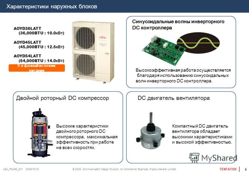 © 2008 Communication Design Division, Air Conditioner Business. Fujitsu General Limited. TENTATIVE LEA_P024E_001 2008/10/10 3-х фазный источник питания AOYD36LATT (36,000BTU : 10.0 кВт ) AOYD45LATT (45,000BTU : 12.5 кВт ) AOYD54LATT (54,000BTU : 14.0
