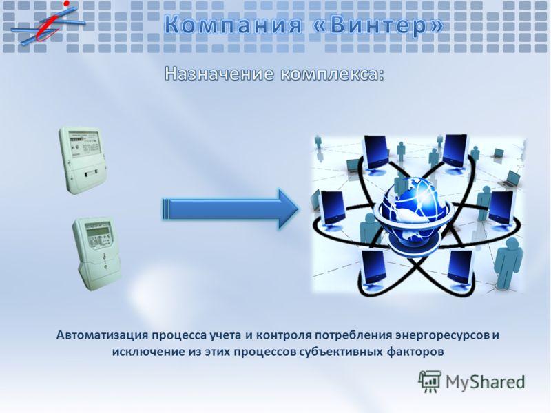 Автоматизация процесса учета и контроля потребления энергоресурсов и исключение из этих процессов субъективных факторов