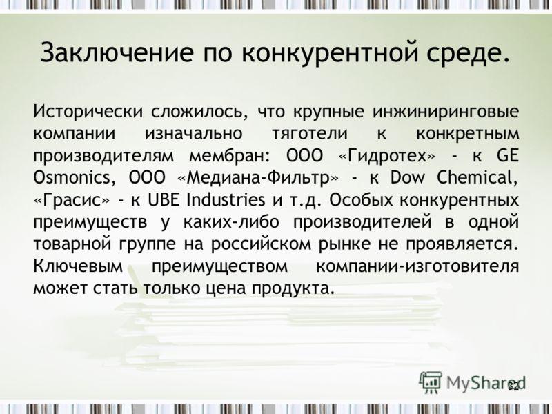 Заключение по конкурентной среде. Исторически сложилось, что крупные инжиниринговые компании изначально тяготели к конкретным производителям мембран: ООО «Гидротех» - к GE Osmonics, ООО «Медиана-Фильтр» - к Dow Chemical, «Грасис» - к UBE Industries и