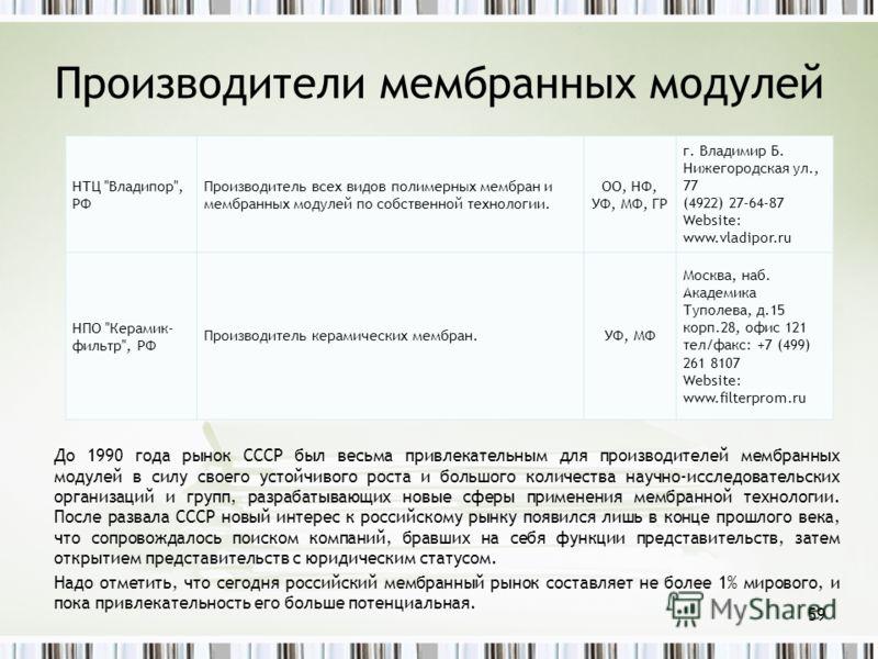 Производители мембранных модулей До 1990 года рынок СССР был весьма привлекательным для производителей мембранных модулей в силу своего устойчивого роста и большого количества научно-исследовательских организаций и групп, разрабатывающих новые сферы