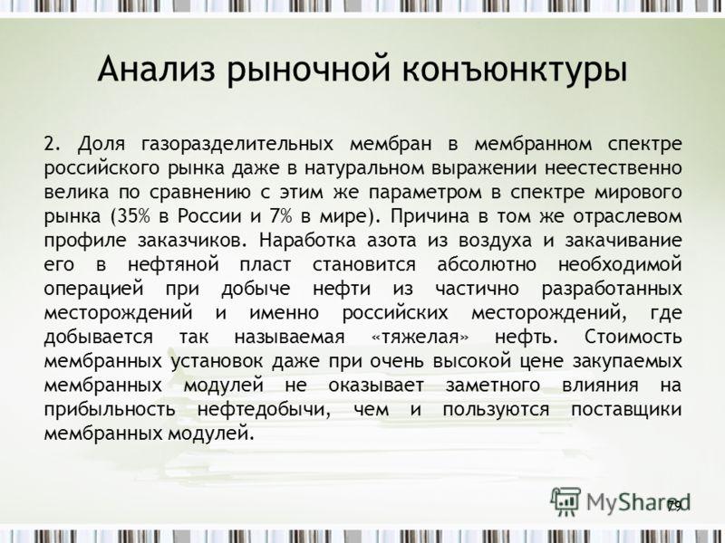 Анализ рыночной конъюнктуры 2. Доля газоразделительных мембран в мембранном спектре российского рынка даже в натуральном выражении неестественно велика по сравнению с этим же параметром в спектре мирового рынка (35% в России и 7% в мире). Причина в т