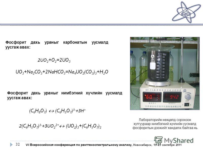 32 VII Всероссийская конференция по рентгеноспектральному анализу, Новосибирск, 19–23 сентября 2011 2UO 2 +O 2 =2UO 3 UO 3 +Na 2 CO 3 +2NaHCO 3 =Na 4 UO 2 (CO 3 ) 3 +H 2 O (C 6 H 8 O 7 ) (C 6 H 5 O 7 ) 3- +3 Н + 2(C 6 H 5 O 7 ) 3- +3UO 2 2+ (UO 2 ) 3