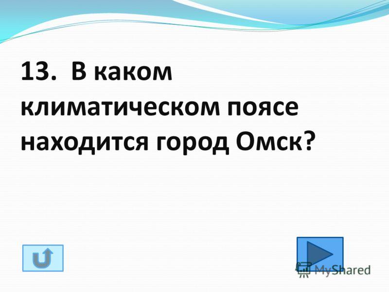 13. В каком климатическом поясе находится город Омск?