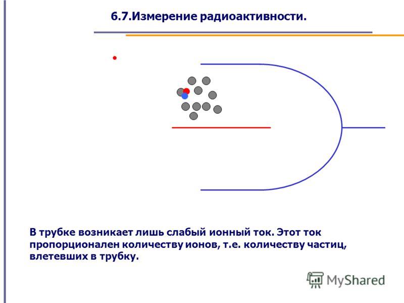 6.7.Измерение радиоактивности. В трубке возникает лишь слабый ионный ток. Этот ток пропорционален количеству ионов, т.е. количеству частиц, влетевших в трубку.