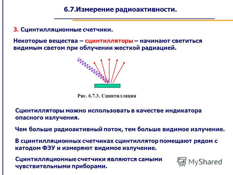6.7.Измерение радиоактивности. 3. Сцинтилляционные счетчики. Некоторые вещества – сцинтилляторы – начинают светиться видимым светом при облучении жесткой радиацией. Рис. 6.7.3. Сцинтилляция Чем больше радиоактивный поток, тем больше видимое излучение