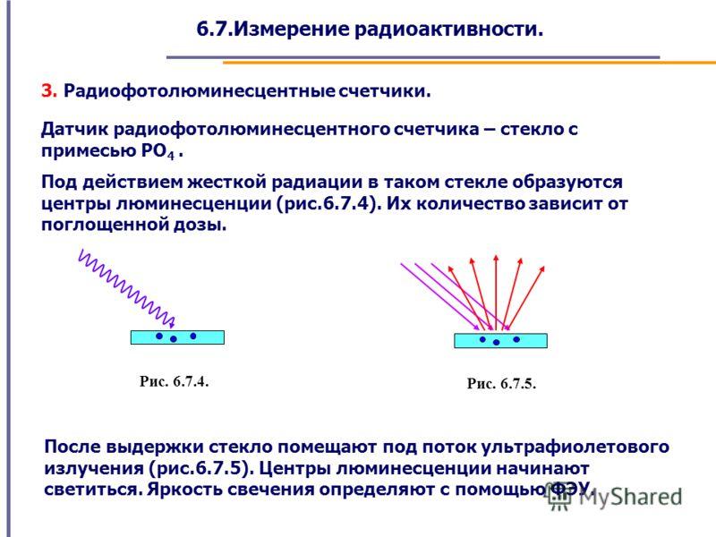 6.7.Измерение радиоактивности. 3. Радиофотолюминесцентные счетчики. Датчик радиофотолюминесцентного счетчика – стекло с примесью PO 4. Под действием жесткой радиации в таком стекле образуются центры люминесценции (рис.6.7.4). Их количество зависит от