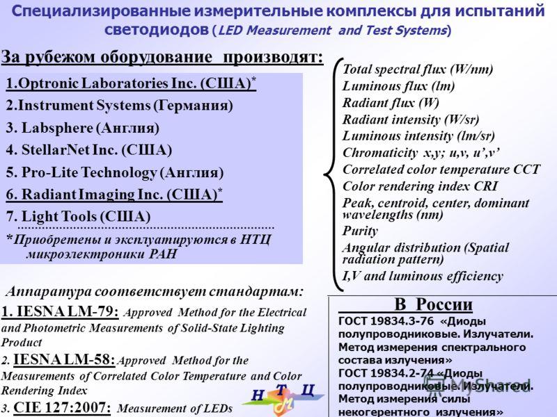 1.Optronic Laboratories Inc. (США) * 2.Instrument Systems (Германия) 3. Labsphere (Англия) 4. StellarNet Inc. (США) 5. Pro-Lite Technology (Англия) 6. Radiant Imaging Inc. (США) * 7. Light Tools (США) * Приобретены и эксплуатируются в НТЦ микроэлектр