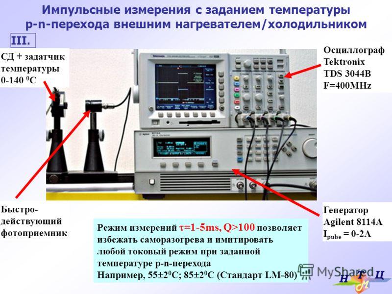 Импульсные измерения с заданием температуры p-n-перехода внешним нагревателем/холодильником СД + задатчик температуры 0-140 0 С Быстро- действующий фотоприемник Осциллограф Tektronix TDS 3044B F=400MHz Генератор Agilent 8114A I pulse = 0-2A Режим изм