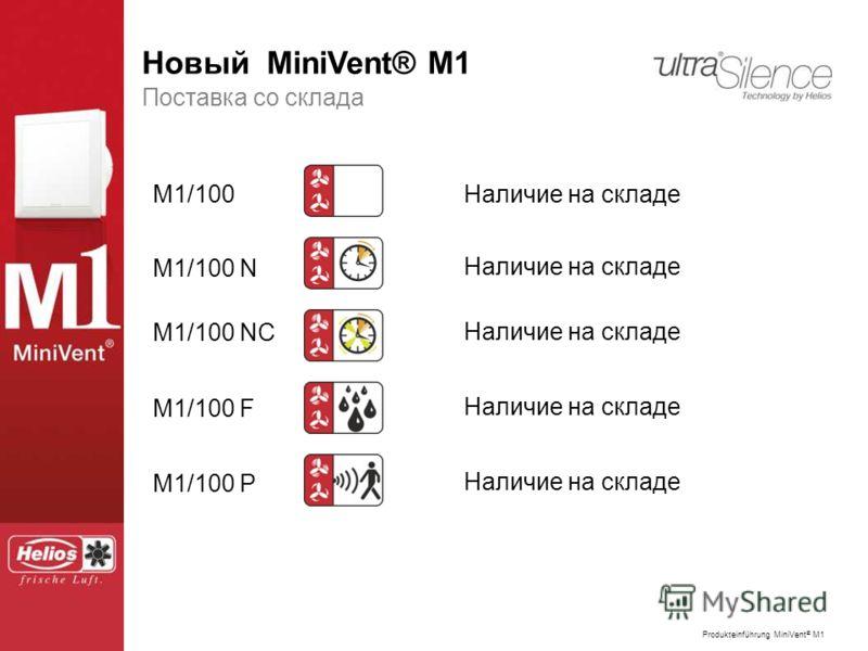 Produkteinführung MiniVent ® M1 Der neue MiniVent ® M1 Поставка со склада M1/100 M1/100 N M1/100 NC M1/100 F M1/100 P Наличие на складе Новый MiniVent® M1
