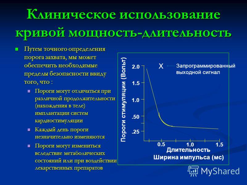Длительность Ширина импульса (мс) Клиническое использование кривой мощность-длительность Путем точного определения порога захвата, мы может обеспечить необходимые пределы безопасности ввиду того, что : Путем точного определения порога захвата, мы мож