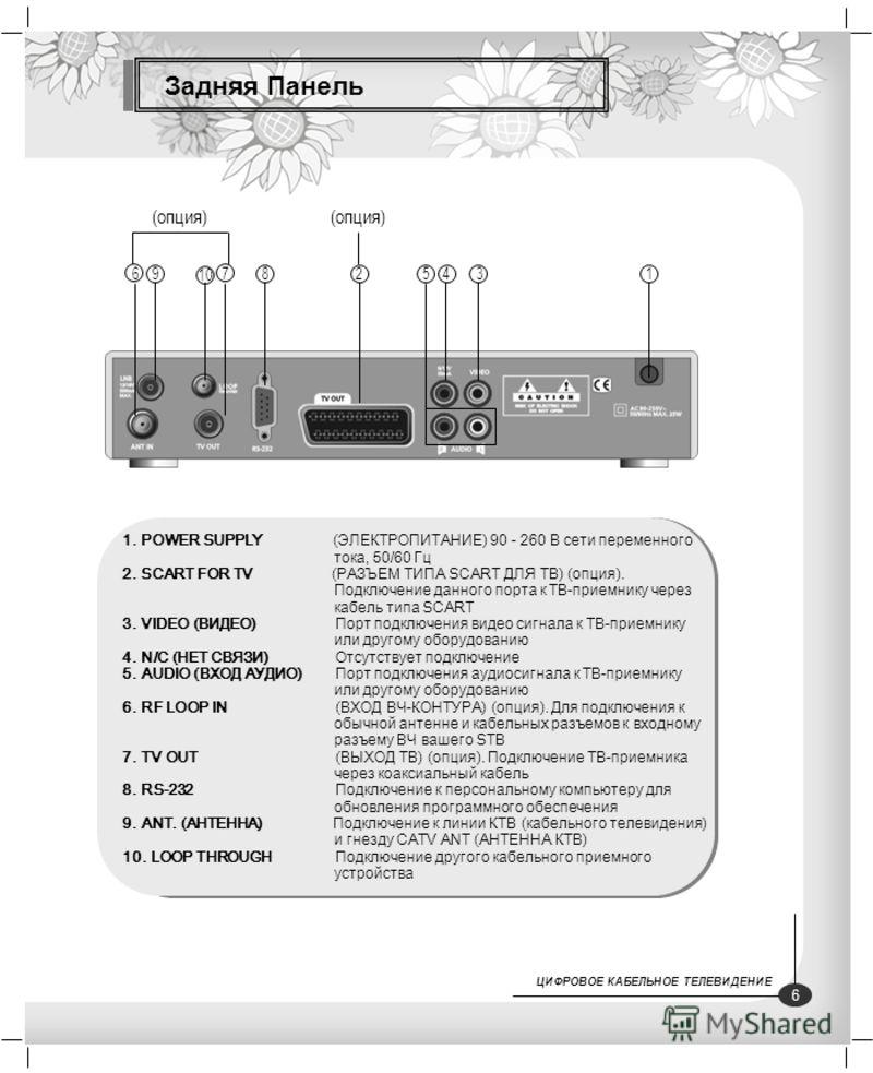 Задняя Панель 1. POWER SUPPLY (ЭЛЕКТРОПИТАНИЕ) 90 - 260 В сети переменного тока, 50/60 Гц 2. SCART FOR TV (РАЗЪЕМ ТИПА SCART ДЛЯ ТВ) (опция). Подключение данного порта к ТВ-приемнику через кабель типа SCART 3. VIDEO (ВИДЕО) Порт подключения видео сиг