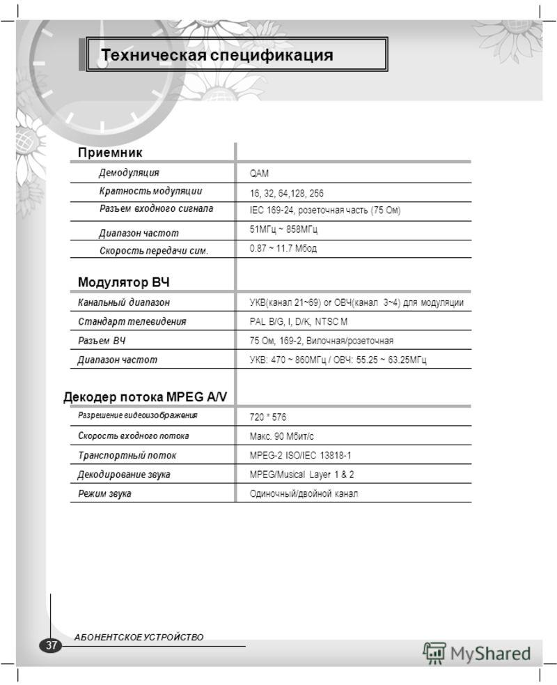 Техническая спецификация Приемник Кратность модуляции 16, 32, 64,128, 256 Разъем входного сигнала IEC 169-24, розеточная часть (75 Ом) Диапазон частот 51МГц ~ 858МГц Скорость передачи сим. 0.87 ~ 11.7 Мбод Демодуляция QAM Канальный диапазон УКВ(канал