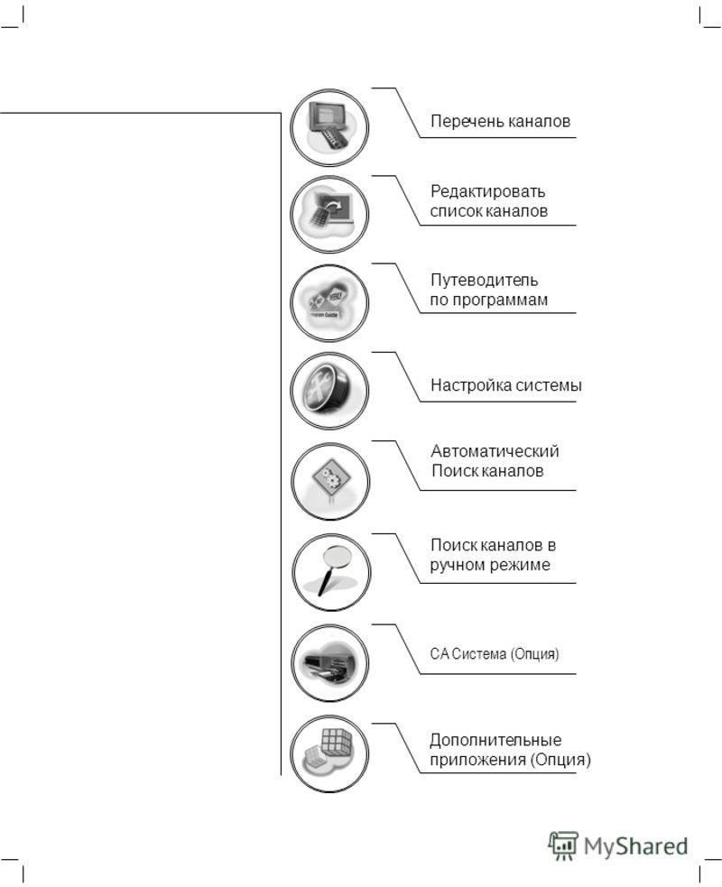 Перечень каналов Редактировать список каналов Путеводитель по программам Настройка системы CA Система (Опция) Дополнительные приложения (Опция) Поиск каналов в ручном режиме Автоматический Поиск каналов