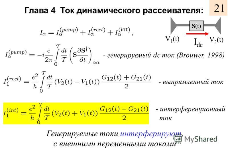 Глава 4 Ток динамического рассеивателя: V 1 (t) V 2 (t) I dc - генерируемый dc ток (Brouwer, 1998) - выпрямленный ток - интерференционный ток Генерируемые токи интерферируют с внешними переменными токами S(t) 21