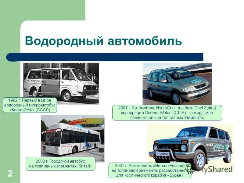 2 Водородный автомобиль 2001 г. Автомобиль «Нива» (Россия) на топливном элементе, разработанном для космического корабля «Буран» 2001 г. Автомобиль HydroGen1 (на базе Opel Zafira) корпорации General Motors (США) – рекордсмен среди машин на топливных