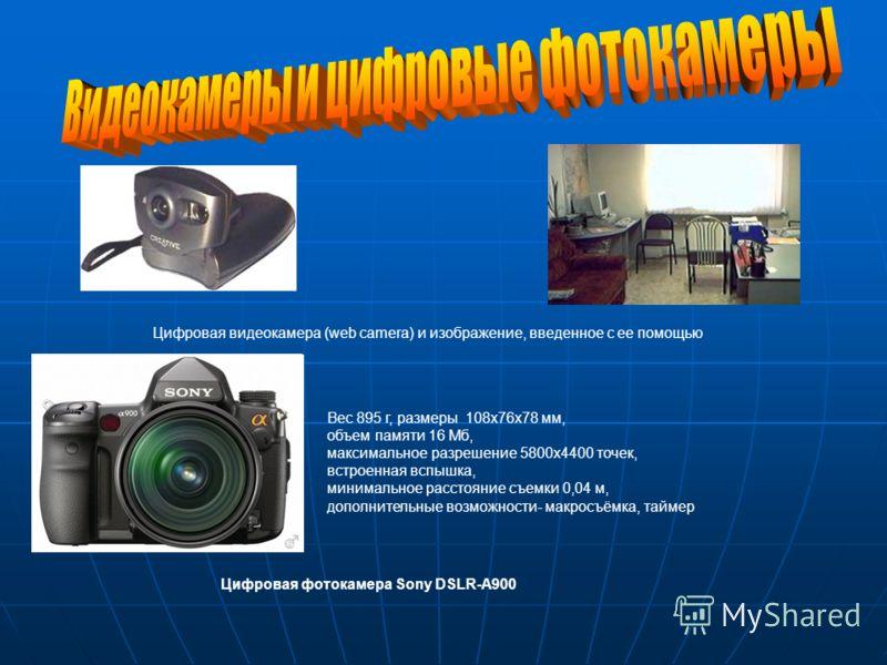 Цифровая видеокамера (web camera) и изображение, введенное с ее помощью Вес 895 г, размеры 108x76x78 мм, объем памяти 16 Мб, максимальное разрешение 5800x4400 точек, встроенная вспышка, минимальное расстояние съемки 0,04 м, дополнительные возможности