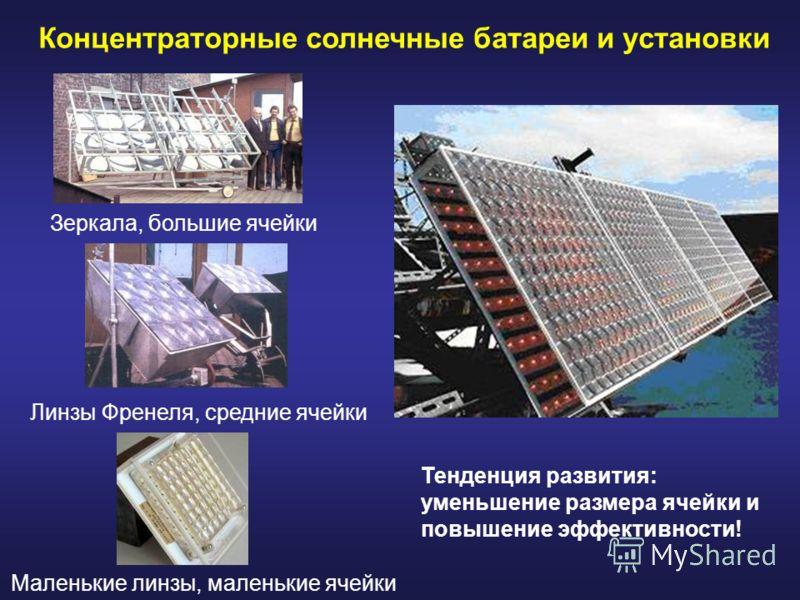 Концентраторные солнечные батареи и установки Тенденция развития: уменьшение размера ячейки и повышение эффективности! Зеркала, большие ячейки Линзы Френеля, средние ячейки Маленькие линзы, маленькие ячейки