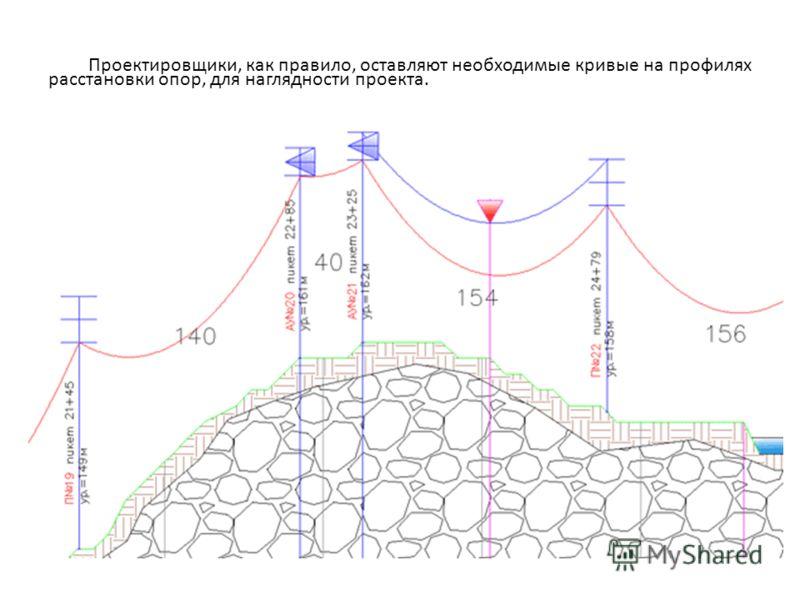 Проектировщики, как правило, оставляют необходимые кривые на профилях расстановки опор, для наглядности проекта.