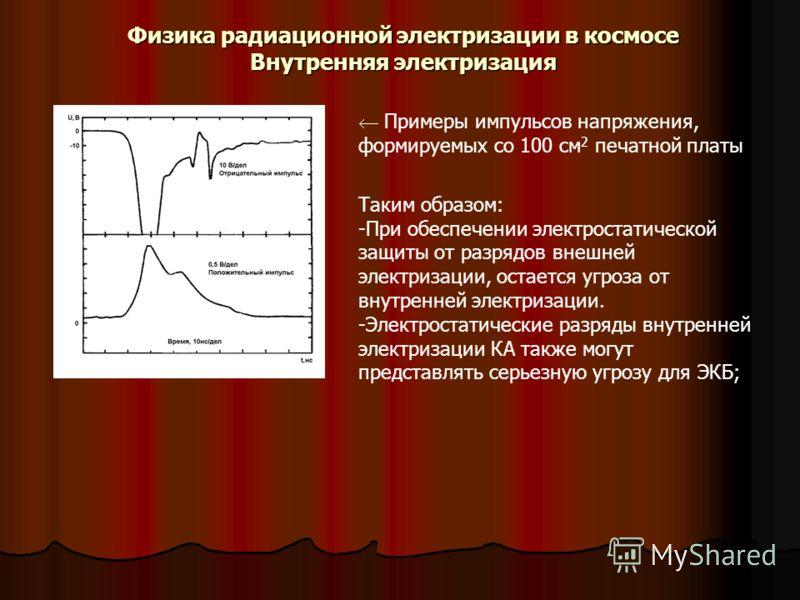 Физика радиационной электризации в космосе Внутренняя электризация Примеры импульсов напряжения, формируемых со 100 см 2 печатной платы Таким образом: -При обеспечении электростатической защиты от разрядов внешней электризации, остается угроза от вну