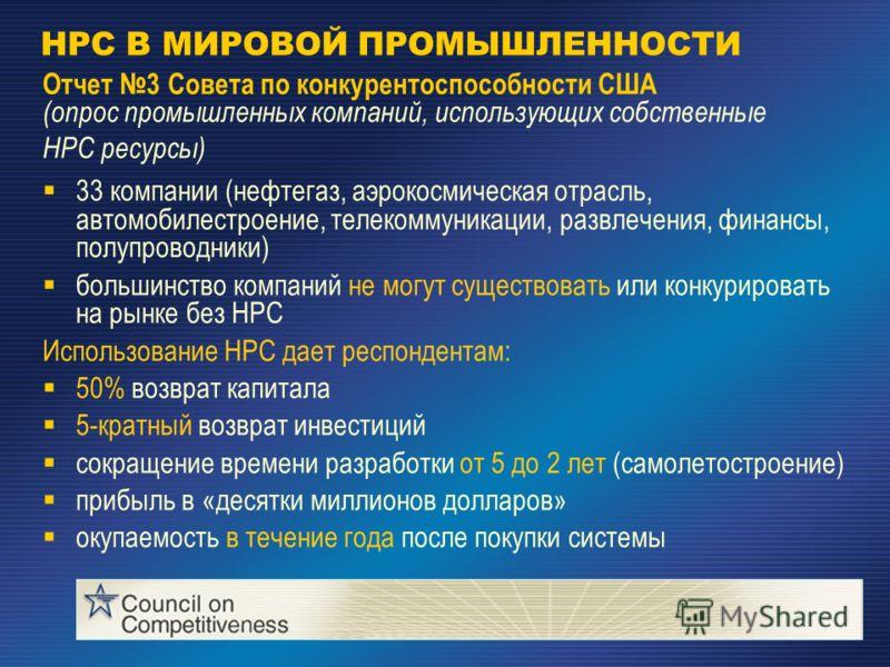 HPC В МИРОВОЙ ПРОМЫШЛЕННОСТИ Отчет 3 Совета по конкурентоспособности США (опрос промышленных компаний, использующих собственные HPC ресурсы) 33 компании (нефтегаз, аэрокосмическая отрасль, автомобилестроение, телекоммуникации, развлечения, финансы, п