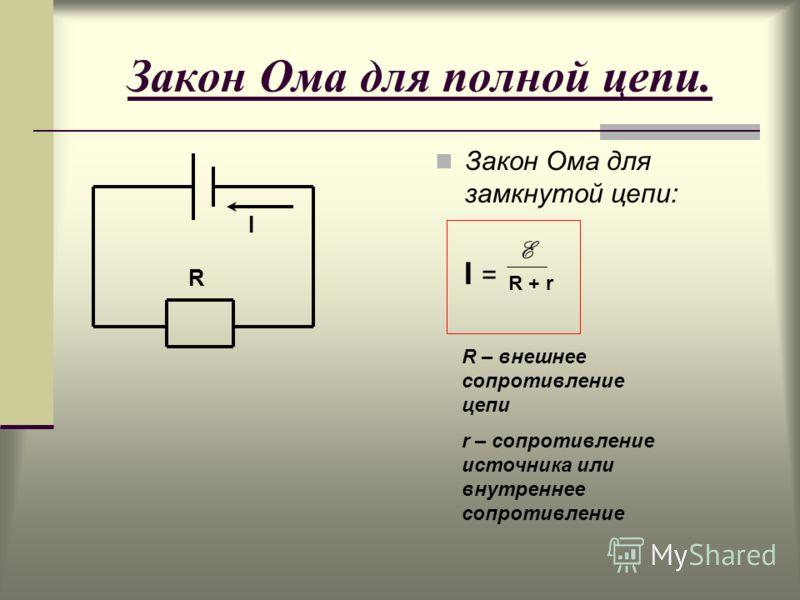 Закон Ома для полной цепи. Закон Ома для замкнутой цепи: I = E R + r R – внешнее сопротивление цепи r – сопротивление источника или внутреннее сопротивление R I