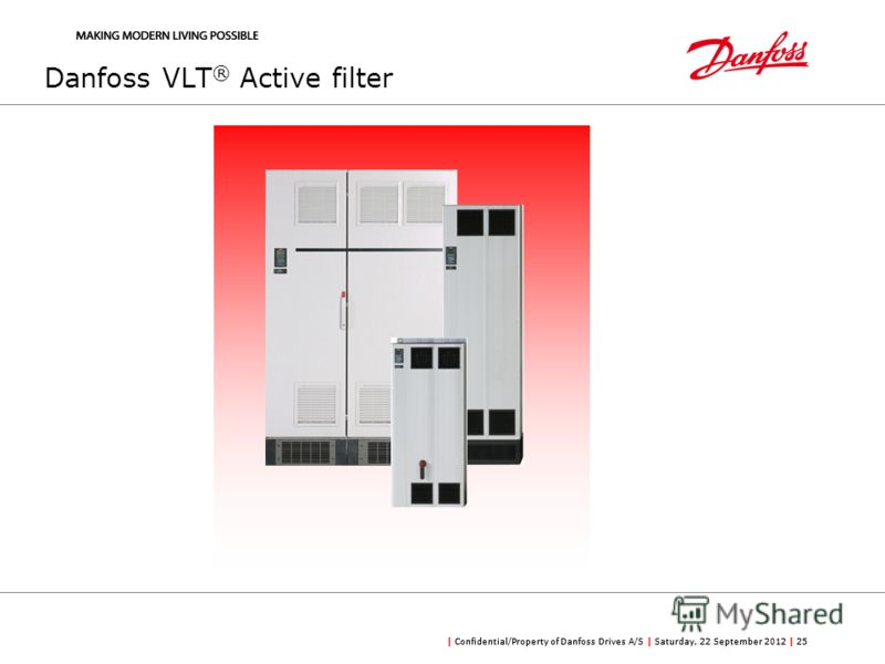 | Confidential/Property of Danfoss Drives A/S | Saturday, 22 September 2012 | 25 Danfoss VLT ® Active filter