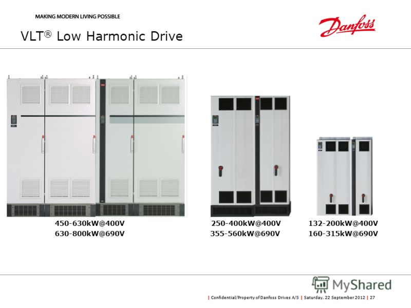 | Confidential/Property of Danfoss Drives A/S | Saturday, 22 September 2012 | 27 VLT ® Low Harmonic Drive 450-630kW@400V250-400kW@400V132-200kW@400V 630-800kW@690V355-560kW@690V160-315kW@690V