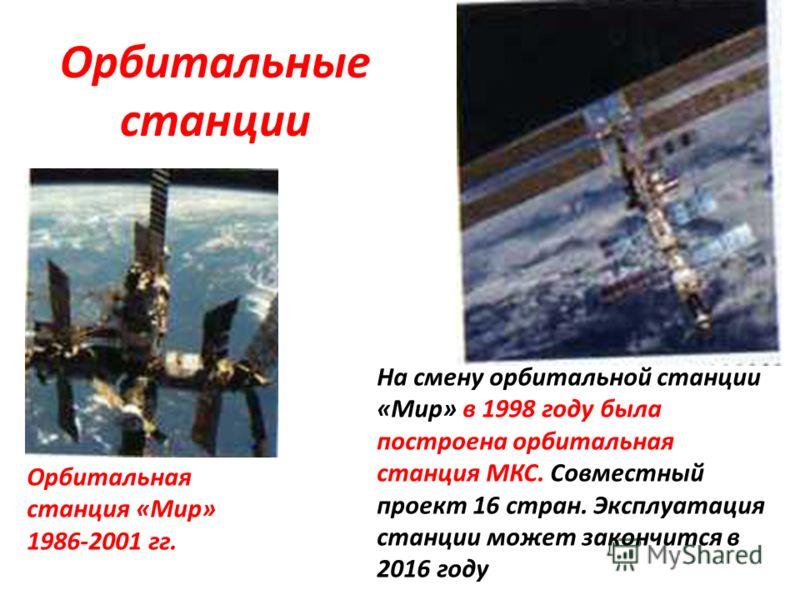 Орбитальные станции На смену орбитальной станции «Мир» в 1998 году была построена орбитальная станция МКС. Совместный проект 16 стран. Эксплуатация станции может закончится в 2016 году Орбитальная станция «Мир» 1986-2001 гг.