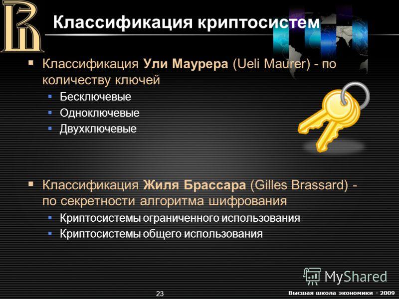 Высшая школа экономики - 2009 23 Классификация криптосистем Классификация Ули Маурера (Ueli Maurer) - по количеству ключей Бесключевые Одноключевые Двухключевые Классификация Жиля Брассара (Gilles Brassard) - по секретности алгоритма шифрования Крипт