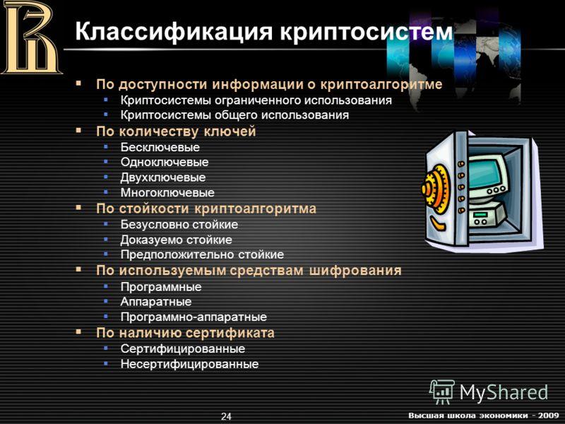 Высшая школа экономики - 2009 24 Классификация криптосистем По доступности информации о криптоалгоритме Криптосистемы ограниченного использования Криптосистемы общего использования По количеству ключей Бесключевые Одноключевые Двухключевые Многоключе