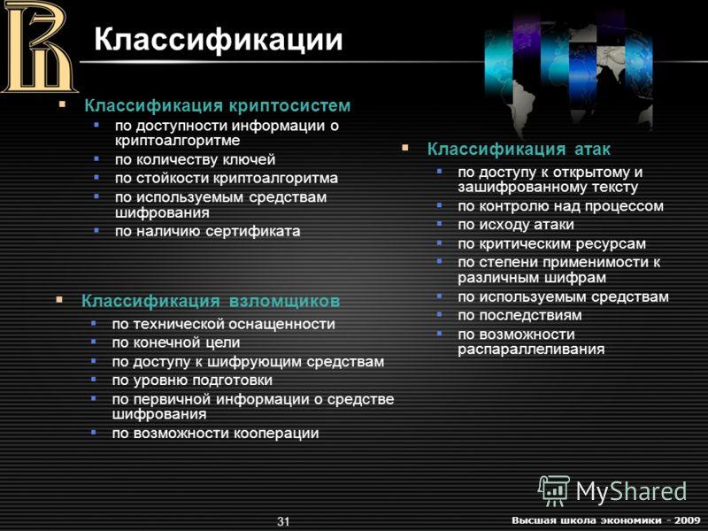 Высшая школа экономики - 2009 31 Классификации Классификация криптосистем по доступности информации о криптоалгоритме по количеству ключей по стойкости криптоалгоритма по используемым средствам шифрования по наличию сертификата Классификация взломщик