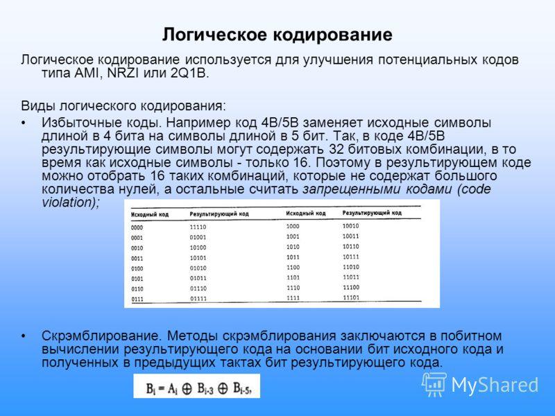 Логическое кодирование Логическое кодирование используется для улучшения потенциальных кодов типа AMI, NRZI или 2Q1B. Виды логического кодирования: Избыточные коды. Например код 4В/5В заменяет исходные символы длиной в 4 бита на символы длиной в 5 би