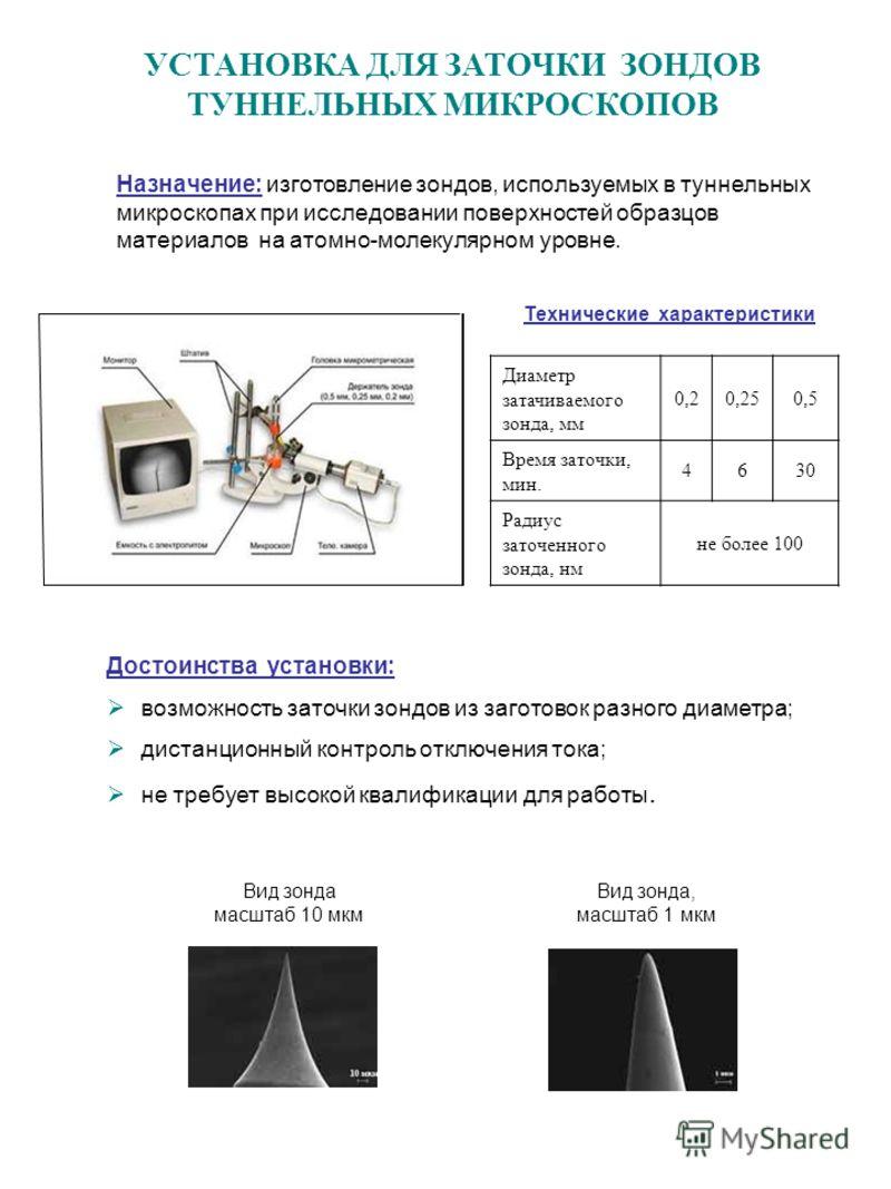 УСТАНОВКА ДЛЯ ЗАТОЧКИ ЗОНДОВ ТУННЕЛЬНЫХ МИКРОСКОПОВ Диаметр затачиваемого зонда, мм 0,20,250,5 Время заточки, мин. 4630 Радиус заточенного зонда, нм не более 100 Назначение: изготовление зондов, используемых в туннельных микроскопах при исследовании