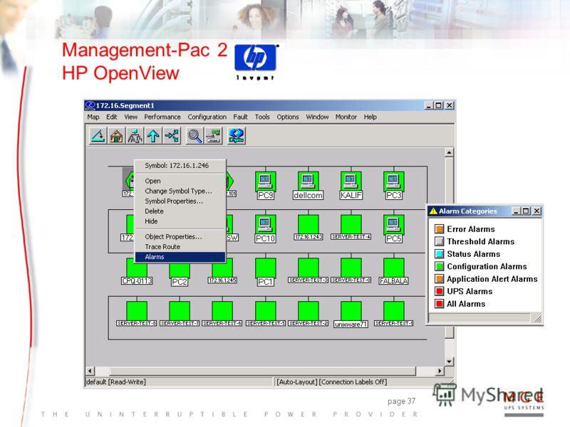 page 36 Management-Pac 2 Главные особенности wUPS авто-открытие + UPS иконки >автоматическая интеграция в сеть происходит на карте с специализированным UPS-значком wИнтеграция MIB >нет долгой конфигурации wTraps reception >сигнальные уведомления цент